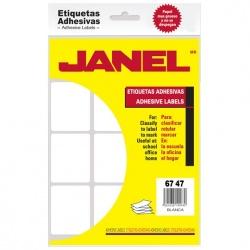 Janel Paquete de 180 Etiquetas Blancas de 67x47mm