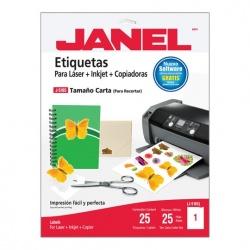 Janel Paquete de 25 Etiquetas Blancas de 216x279mm