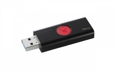 Memoria USB Kingston DataTraveler 106, 16GB, USB 3.1, Negro/Rojo