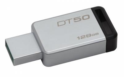 Memoria USB Kingston DataTraveler 50, 128GB, USB 3.0, Plata/Negro