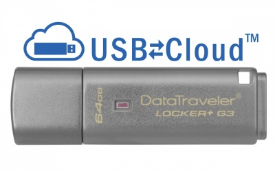Memoria USB Kingston DataTraveler Locker+ G3, 64GB, USB 3.0, Plata