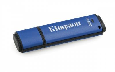 Memoria USB Kingston DataTraveler Vault Privacy, 32GB, USB 3.0, Encriptación de 256 bits, Azul