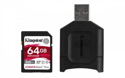 Memoria Flash Kingston Canvas React Plus, 64GB SD UHS-II Clase 10, con Adaptador USB