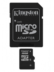 Memoria Flash Kingston, 16GB microSDHC Clase 4, con Adaptador