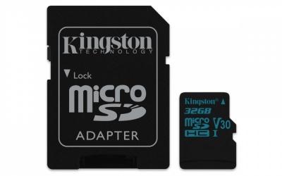 Memoria Flash Kingston Canvas Go!, 32GB MicroSDXC UHS-I Clase 10, con Adaptador