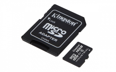 Memoria Flash Kingston, 16GB microSDHC UHS-I Clase 10 para Temperaturas Industriales, con Adaptador