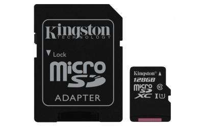 Memoria Flash Kingston Canvas Select, 128GB MicroSD UHS-I Clase 10, con Adaptador