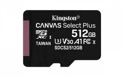 Memoria Flash Kingston Canvas Select Plus, 512GB MicroSDXC UHS-I Clase 10, con Adaptador
