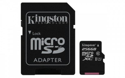 Memoria Flash Kingston Canvas Select,  256GB MicroSD UHS-I Clase 10, con Adaptador