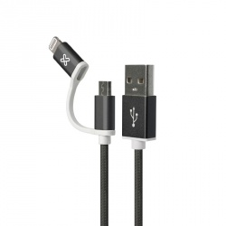 Klip Xtreme Cable de Carga con Certificación MFi USB A Macho - Micro USB B/Lightning Macho, 1 Metro, Negro, para iPhone/iPad/iPod
