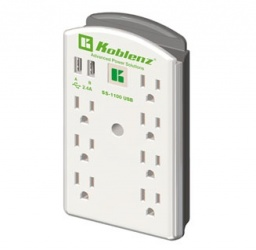 Koblenz Supresor de Pared  SS-1100 USB, 9 Contactos, 2x USB, 1100 Joules, 120V, Blanco