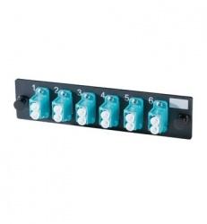 Legrand Panel de 6 Adaptadores LC Dúplex (12 Fibras) Multimodo, Aguamarina