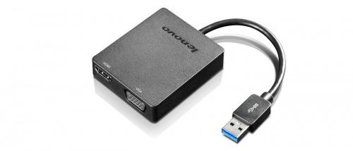 Lenovo Adaptador Universal USB 3.0 - VGA/HDMI, Negro