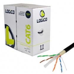 Logico Bobina de Cable Cat6 UTP para Exteriores, 305 Metros, Negro
