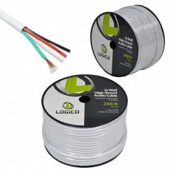 Logico Bobina de Cable de Audio Calibre 16, 76 Metros, 7.5mm, Blanco
