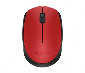 Mouse Logitech Óptico M170, Inalámbrico, USB, Negro/Rojo