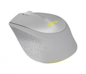 Mouse Logitech Óptico M330 Silent Plus, Inalámbrico, USB, 1000DPI, Gris/Amarillo