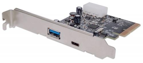 Manhattan Tarjeta PCI Express 151757, 1x USB A, 1x USB C, 10 Gbit/s