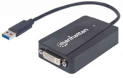 Manhattan Adaptador USB 3.0 A Macho - DVI-I Hembra, Negro
