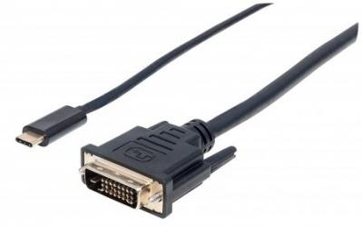 Manhattan Cable USB C Macho - DVI Macho, 2 Metros, Negro
