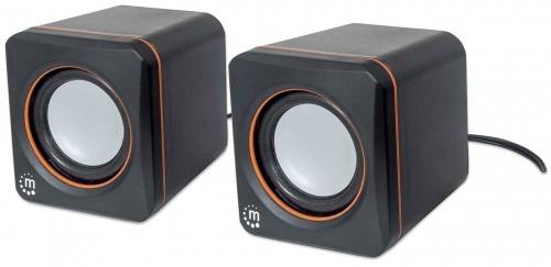 Manhattan Bocinas para Computadora Serie 2600 USB Cubo, Alámbrico, 3W RMS, Negro