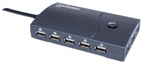 Manhattan Hub USB 2.0 de Alta Velocidad, 13 Puertos, 480 Mbit/s, Negro