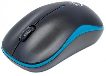 Mouse Manhattan Óptico Success, Inalámbrico, USB, 1000 DPI, Negro/Azul