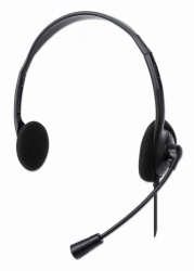 Manhattan Audífonos con Micrófono 179850, Alámbrico, 1.5 Metros, USB-A, Negro