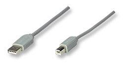 Manhattan Cable USB A Macho - USB B Macho, 3 Metros, Gris