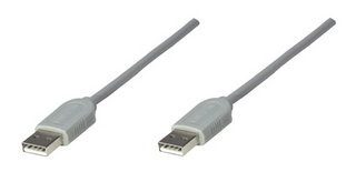 Manhattan Cable USB A Macho - USB A Macho, 1.8 Metros, Gris