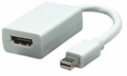 Manhattan Adaptador Mini Displayport-HDMI, 15cm, Blanco