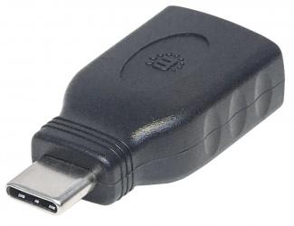 Manhattan Adaptador USB C Macho - USB A Hembra, Negro