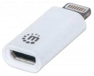 Manhattan Adaptador iLink, Lightning 8-pin Macho - Micro USB B Hembra, Blanco
