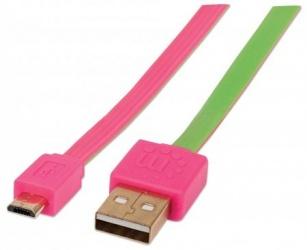 Manhattan Cable Plano USB 2.0 A Macho - Micro-USB 2.0 B Macho, 1 Metro, Rosa/Verde
