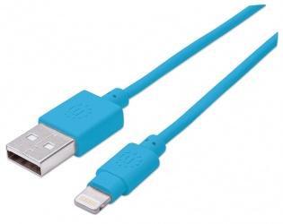 Manhattan Cable iLynk USB A Macho - Lightning Macho, 1 Metro, Azul