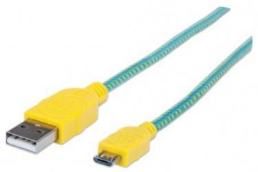 Manhattan Cable USB 2.0 A Macho - Micro USB 2.0 B Macho, 1 Metro, Verde/Amarillo