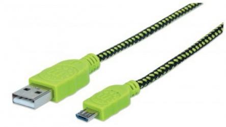Manhattan Cable USB A - Macho - Micro-USB B - Macho, 1 Metro, Negro/Verde