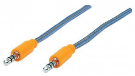 Manhattan Cable 3.5mm Macho - 3.55mm Macho, 1 Metro, Azul/Naranja