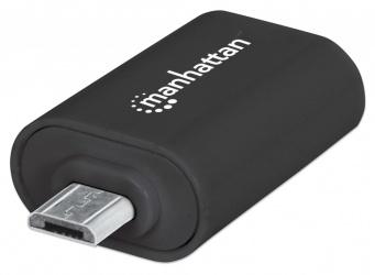 Manhattan Adaptador imPORT OTG USB, Micro USB A - USB A, Negro