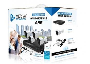 Meriva Security Kit de Vigilancia de 4 Cámaras CCTV Bullet y 4 Canales, Grabadora