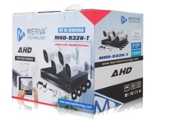 Meriva Security Kit de Vigilancia de 4 Cámaras CCTV Bullet y 4 Canales, con Grabadora DVR