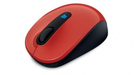 Mouse Microsoft BlueTrack Sculpt Mobile, RF Inalámbrico, USB, 1000DPI, Negro/Rojo