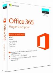 Microsoft Office 365 Hogar Premium Español, 32/64-bit, 5 Usuarios, 1 Año, para Windows/Mac