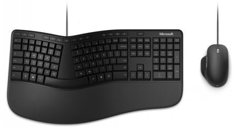 Kit de Teclado y Mouse Microsoft Ergonomic Desktop for Business, Alámbrico, USB, Negro