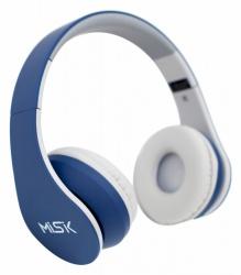 Misik Audífonos MH624, Bluetooth, Inalámbrico, Azul/Blanco