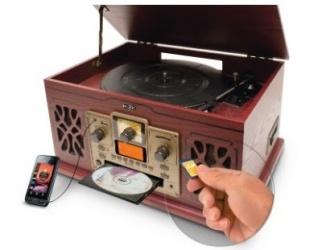Misik Bocina Sistema Nostalgico, Bluetooth, USB, Madera