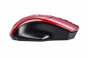 Mini Mouse Naceb Óptico NA-273R, Inalámbrico, Alcance 10 Metros, 1200DPI, Negro/Rojo