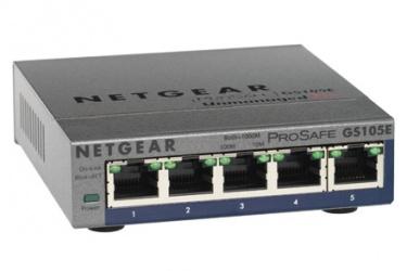 Switch Netgear Gigabit Ethernet ProSafe GS105PE, 5 Puertos 10/100/1000Mbps, 8192 Entradas - No Administrable
