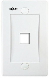Nexxt Solutions Placa para Pared Sencilla, RJ-45, 1 Salida, Blanco