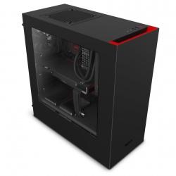Gabinete NZXT S340 con Ventana, Midi-Tower, ATX/micro-ATX/mini-iTX, USB 3.0, sin Fuente, Negro/Rojo